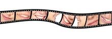 Happy Woman Smiles In Film Stripes