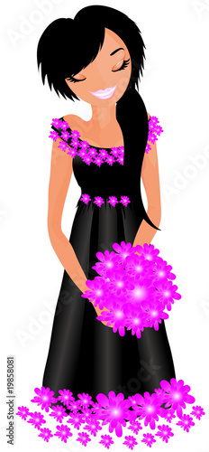 Floral femme girl with a flowers