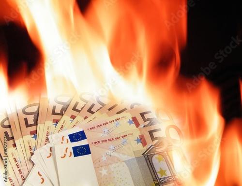 Valokuva  Banknotes fire