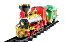 Toy Train And  Caboose On White Background