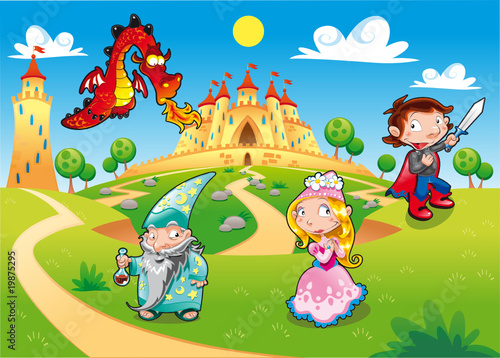 Photo Stands Castle Funny cartoon illustration with background.