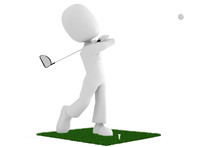 3d Man Golfer In Action