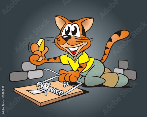Foto-Stoff - Katze mit Falle im Keller (von jokatoons)