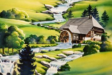 Panel Szklany Wiejski Mühle am Fluss