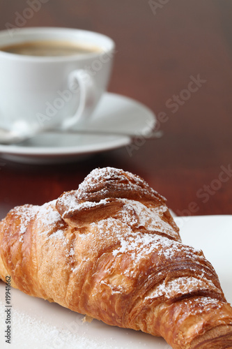 Wall Murals Cafe Croissant and coffee