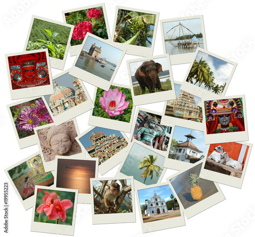 Stack of photo shots with Southern India landmarks Poster
