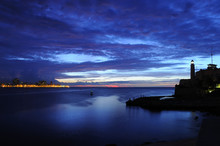 """Entrance Of Havana Bay With """"el Morro"""" Lighthouse Silhouette"""