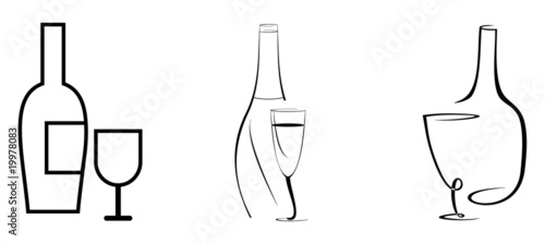 Fotografía  Wine bottle and glass