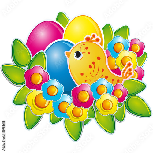 Poster Oiseaux, Abeilles Easter eggs and a cute chicken