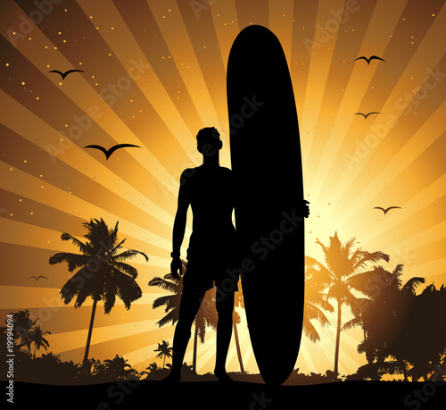 Summer holiday, man with surfboard #19994094