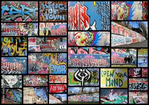 Deurstickers Graffiti collage graffiti