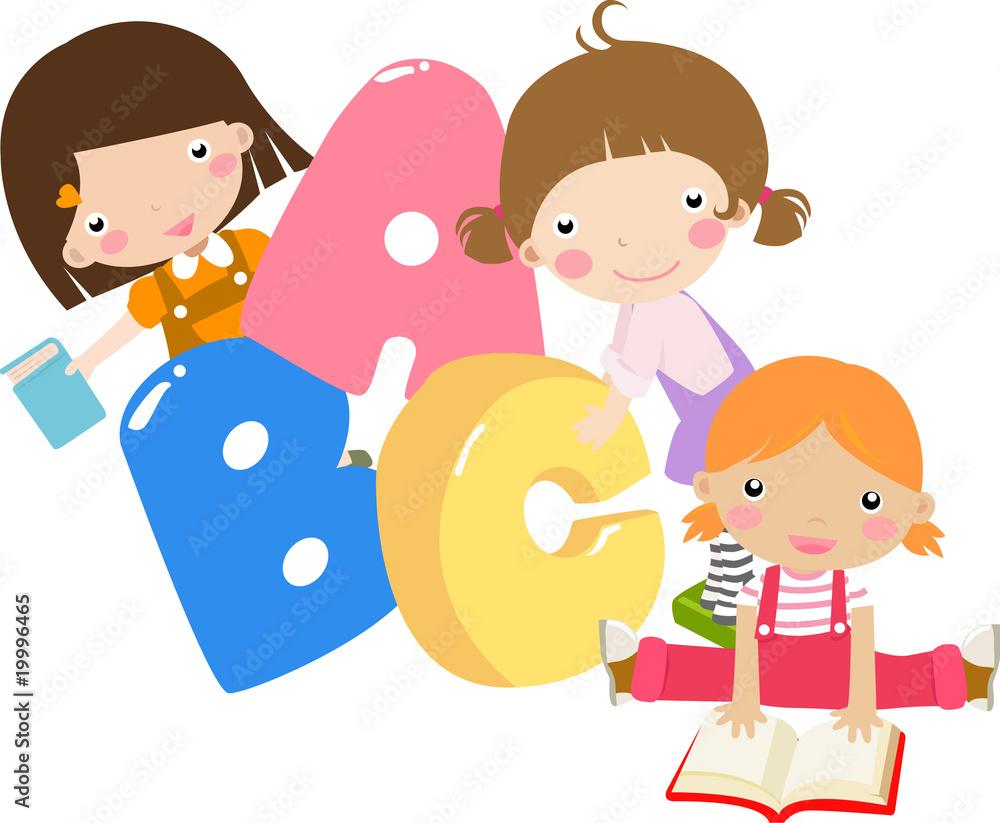 Foto-Lamellen (Lamellen ohne Schiene) - Three cartoon girls holding ABC letters