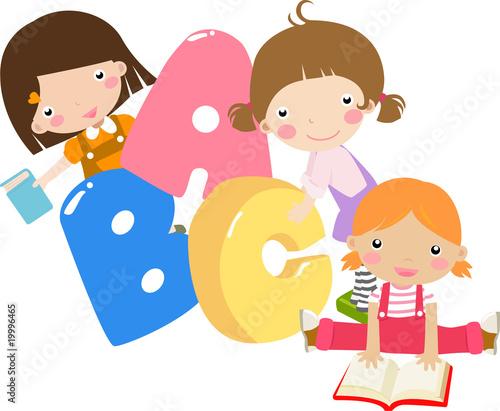 Foto-Stoff - Three cartoon girls holding ABC letters (von Ala)