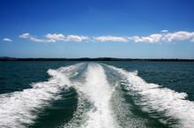 Boat Wake On Green Ocean