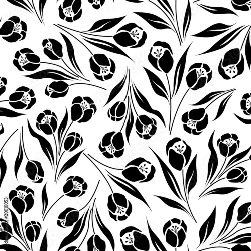 Poster Floral black and white tulip flower, seamless vector half drop repeat