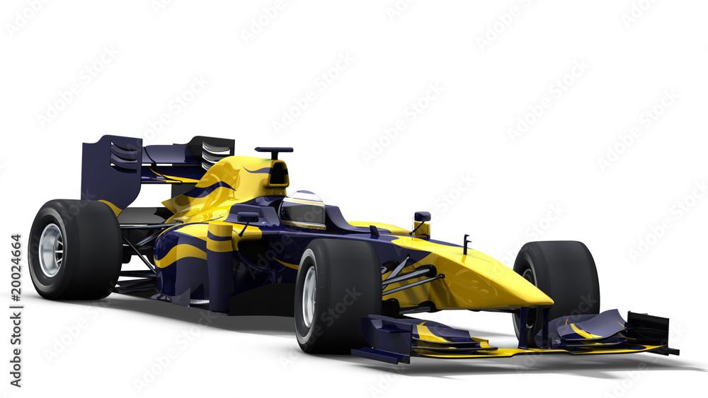 Foto-Lamellen (Lamellen ohne Schiene) - race car on white - blue & yellow