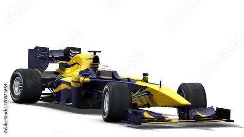 Foto-Stoff - race car on white - blue & yellow (von braverabbit)