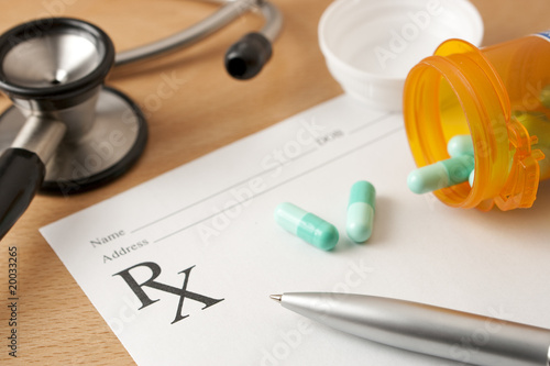 Photo  Prescription with Pills and stethoscope