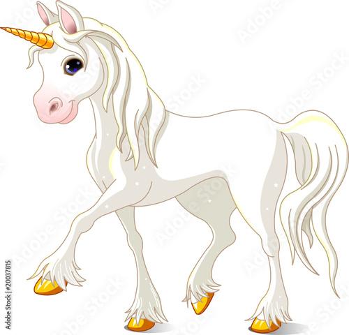 Poster Pony Beautiful White Unicorn