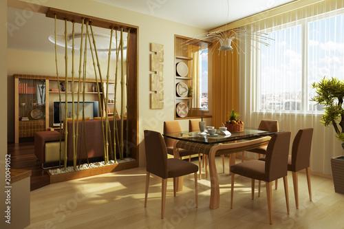 Fényképezés  modern dinner room interior 3d rendering