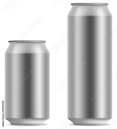 Photo  Blank beer can in 2 variants 330 and 500 ml