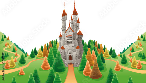 Poster Castle Medieval castle in the land. Cartoon and vector illustration
