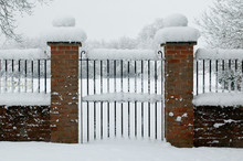 Gate Entrance Covered In Snow