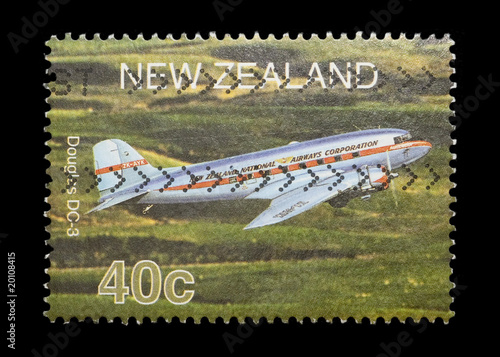 Photo  new zealand mail stamp featuring a Douglas DC3