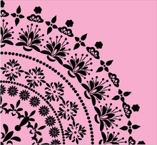 Black Floral Quadrant On Pink