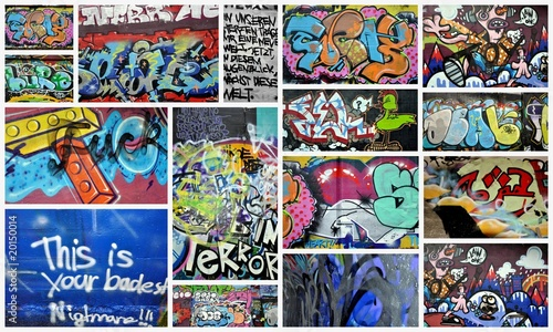 Foto auf Leinwand Graffiti collage graffiti