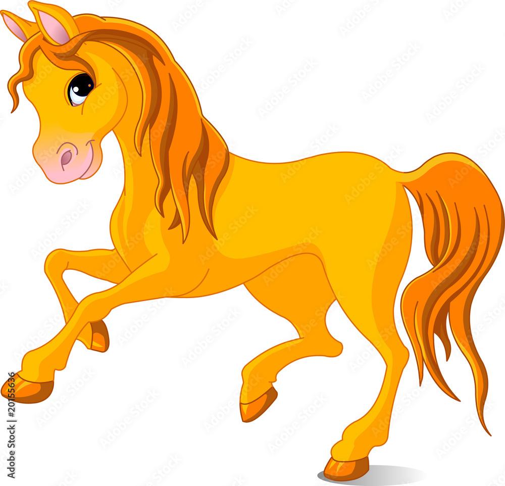 Foto-Stoff - Vector Illustration of skipping beautiful golden horse