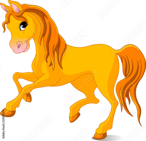 Garden Poster Pony Vector Illustration of skipping beautiful golden horse