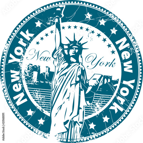 Grunge rubber stamp with the Statue of Liberty - 20168891