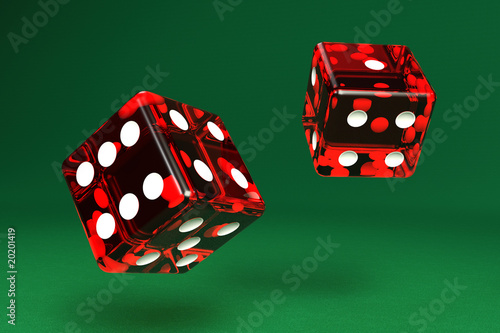 Two dice on green felt with clipping path Wallpaper Mural