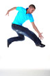 jumping man modern dancer isolated on white