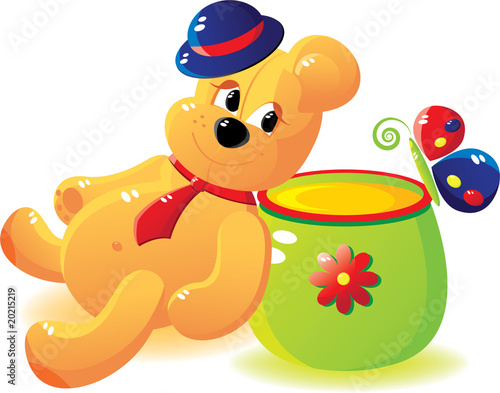 Fotobehang Beren Bear with honey and the butterfly