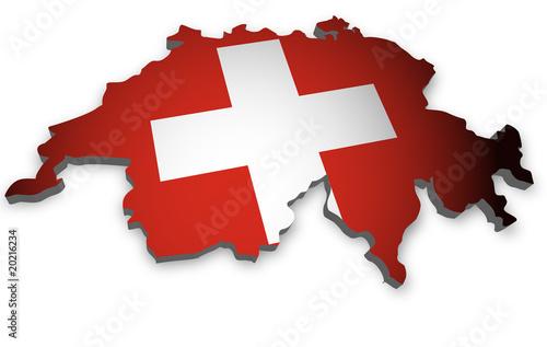 Fotografie, Obraz  Schweiz Karte 3D Flagge