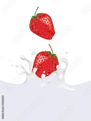 Poster Dans la glace Erdbeer - Wasser Splash