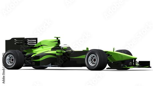 Foto-Doppelrollo - race car on white - black & green (von braverabbit)