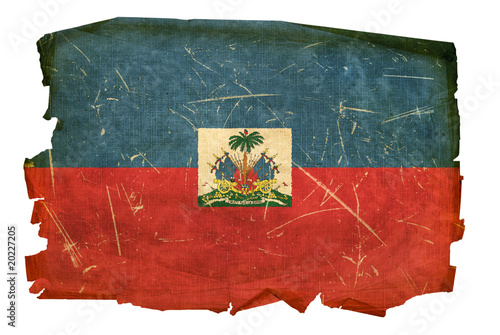 Photo Haiti Flag old, isolated on white background.