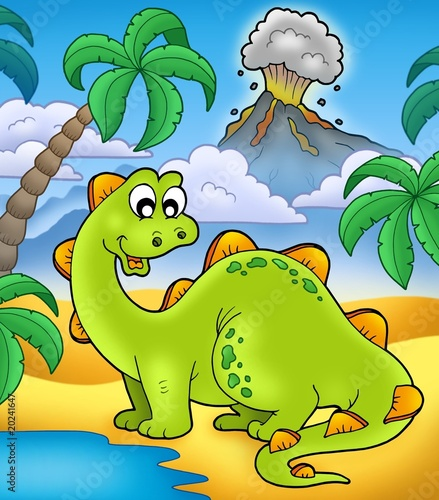 Tuinposter Dinosaurs Cute dinosaur with volcano