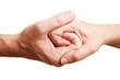 Zwei verschlungene Hände