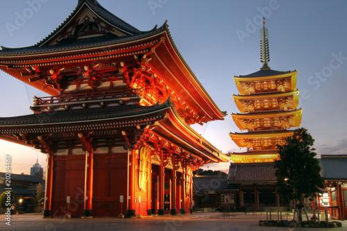 Spoed Foto op Canvas Tokio Senso-ji Temple, Asakusa, Tokyo, Japan (HDR Image)