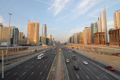 Poster Moyen-Orient Shekh Zayed Road in Dubai, United Arab Emirates