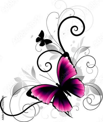 Poster Butterflies in Grunge Abstract background