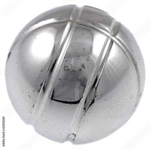 Fototapeta boule pétanque métal fond blanc obraz
