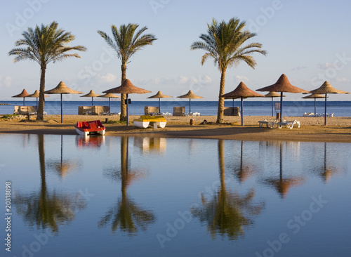 Tuinposter Egypte Beach on a sunny day. Hurghada city in Egypt.