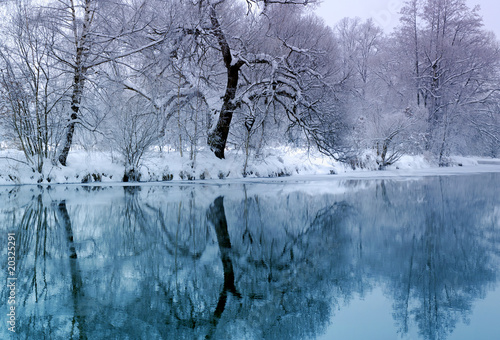 Printed kitchen splashbacks River blue river in winter time