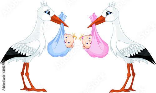 Printed kitchen splashbacks Fairytale World two storks delivering a newborn babies