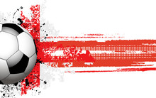 Soccer Ball Banner With Grunge England Flag